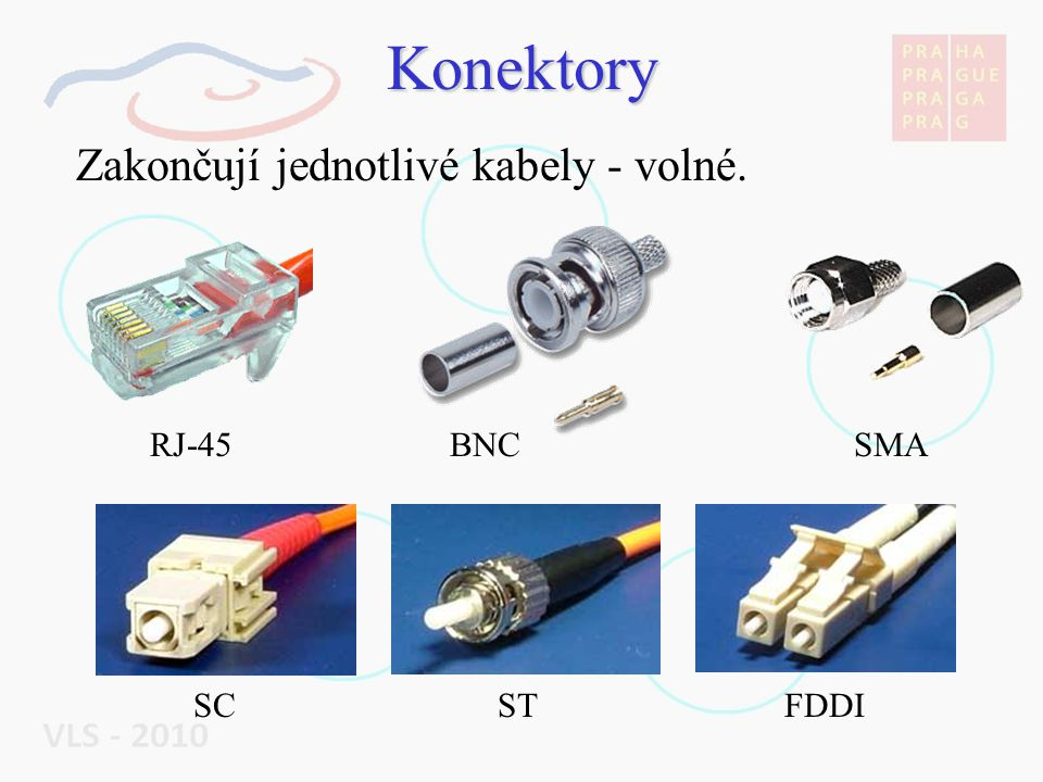 Konektory Zakončují jednotlivé kabely - volné. RJ-45 BNC SMA SC ST