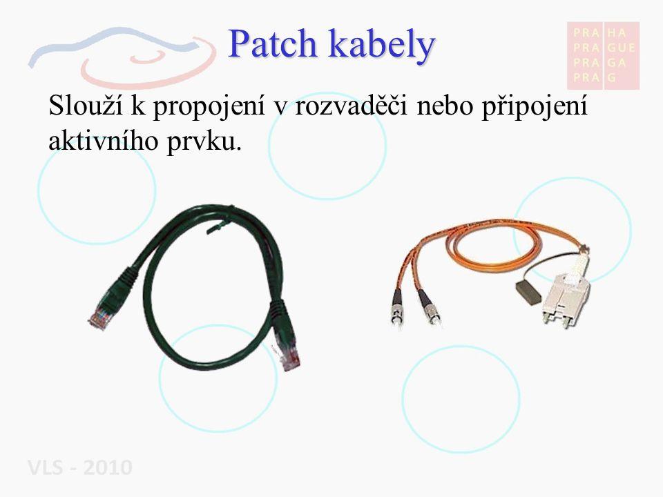 Patch kabely Slouží k propojení v rozvaděči nebo připojení aktivního prvku.