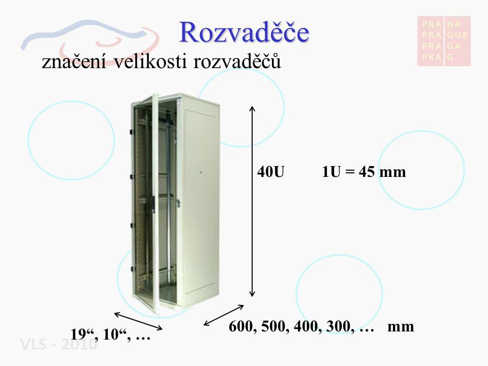 Rozvaděče značení velikosti rozvaděčů 40U 1U = 45 mm