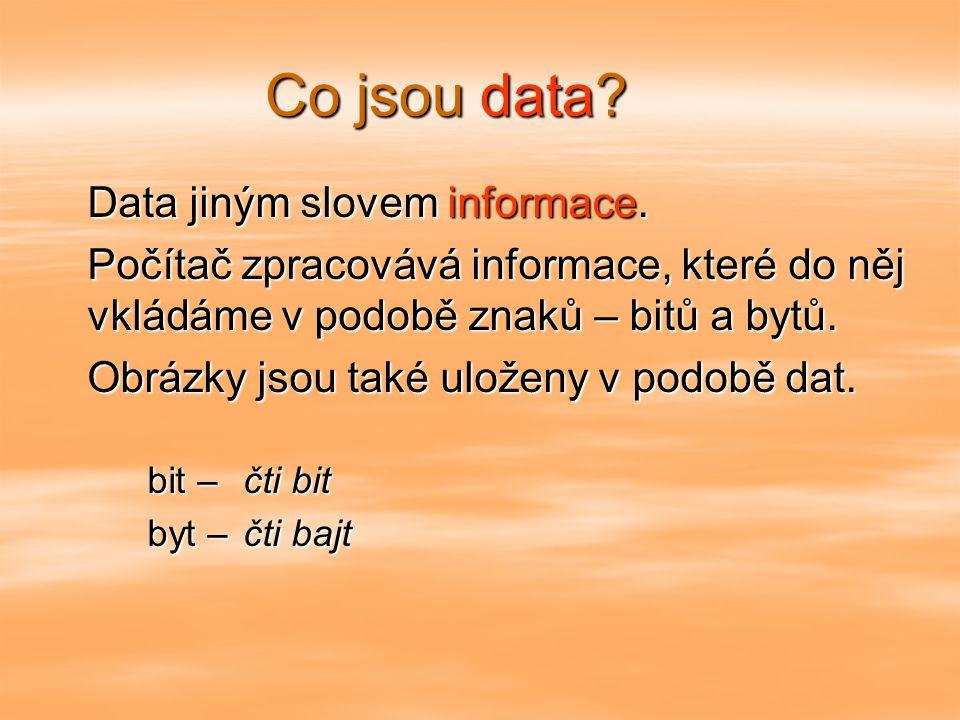 Co jsou data Data jiným slovem informace.