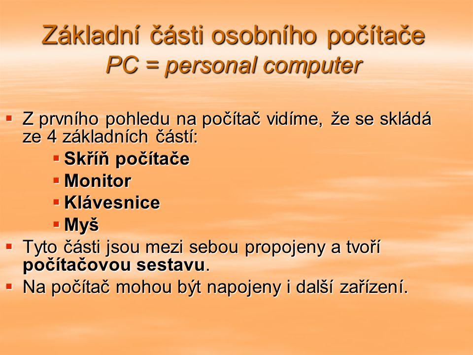 Základní části osobního počítače PC = personal computer