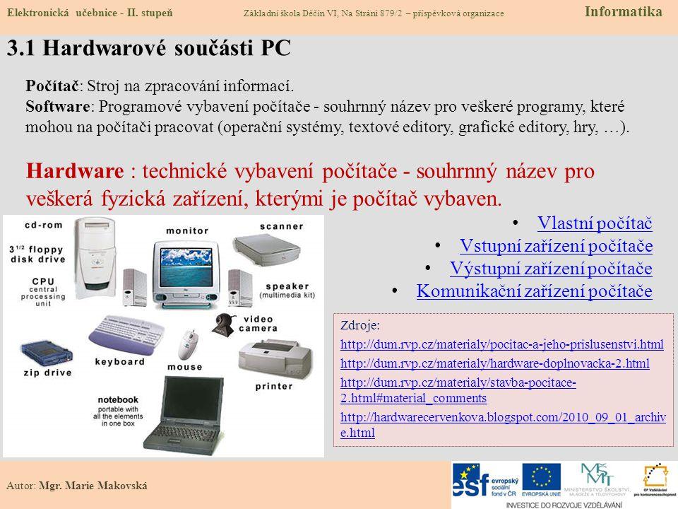 3.1 Hardwarové součásti PC