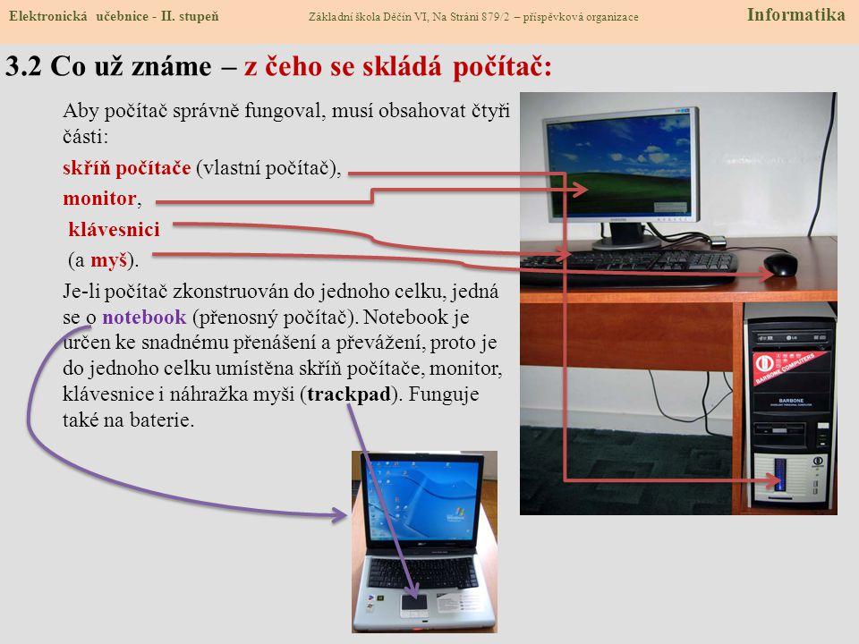 3.2 Co už známe – z čeho se skládá počítač:
