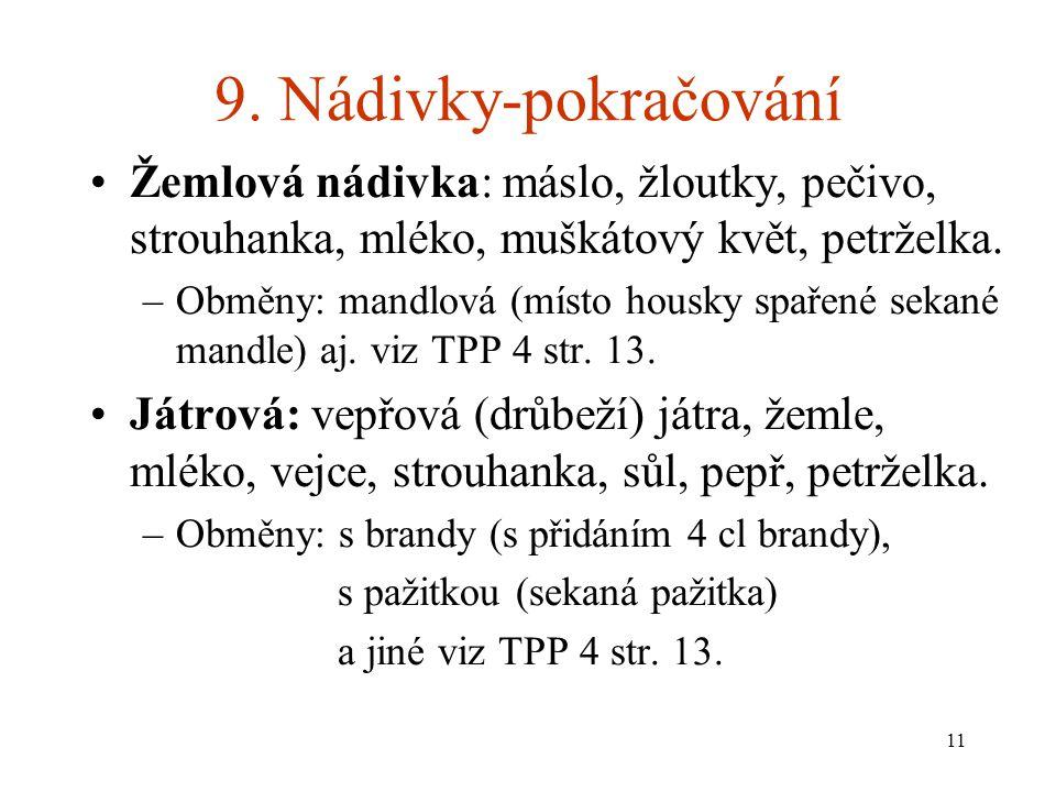 9. Nádivky-pokračování Žemlová nádivka: máslo, žloutky, pečivo, strouhanka, mléko, muškátový květ, petrželka.