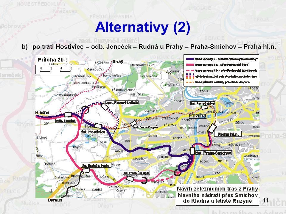 Alternativy (2) b) po trati Hostivice – odb. Jeneček – Rudná u Prahy – Praha-Smíchov – Praha hl.n.
