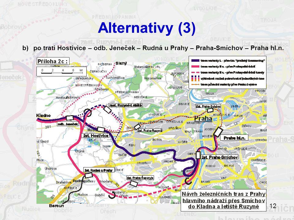 Alternativy (3) b) po trati Hostivice – odb. Jeneček – Rudná u Prahy – Praha-Smíchov – Praha hl.n.