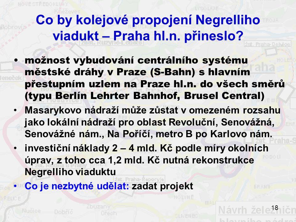 Co by kolejové propojení Negrelliho viadukt – Praha hl.n. přineslo