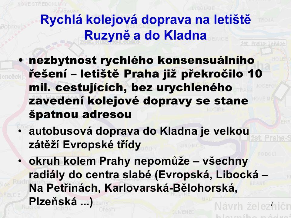 Rychlá kolejová doprava na letiště Ruzyně a do Kladna