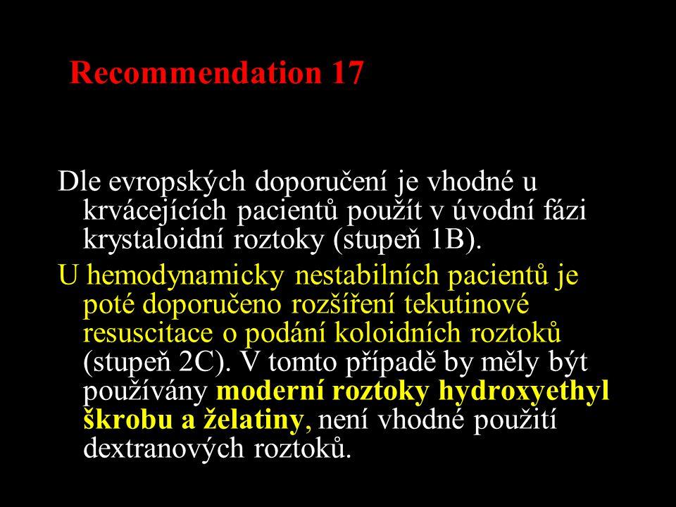 Recommendation 17 Dle evropských doporučení je vhodné u krvácejících pacientů použít v úvodní fázi krystaloidní roztoky (stupeň 1B).