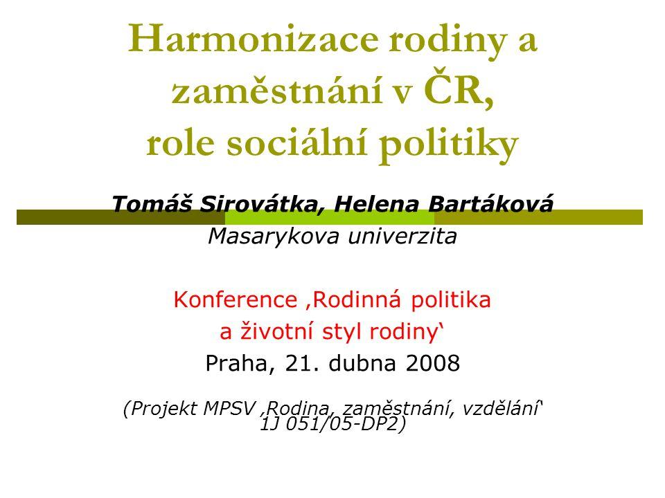 Harmonizace rodiny a zaměstnání v ČR, role sociální politiky