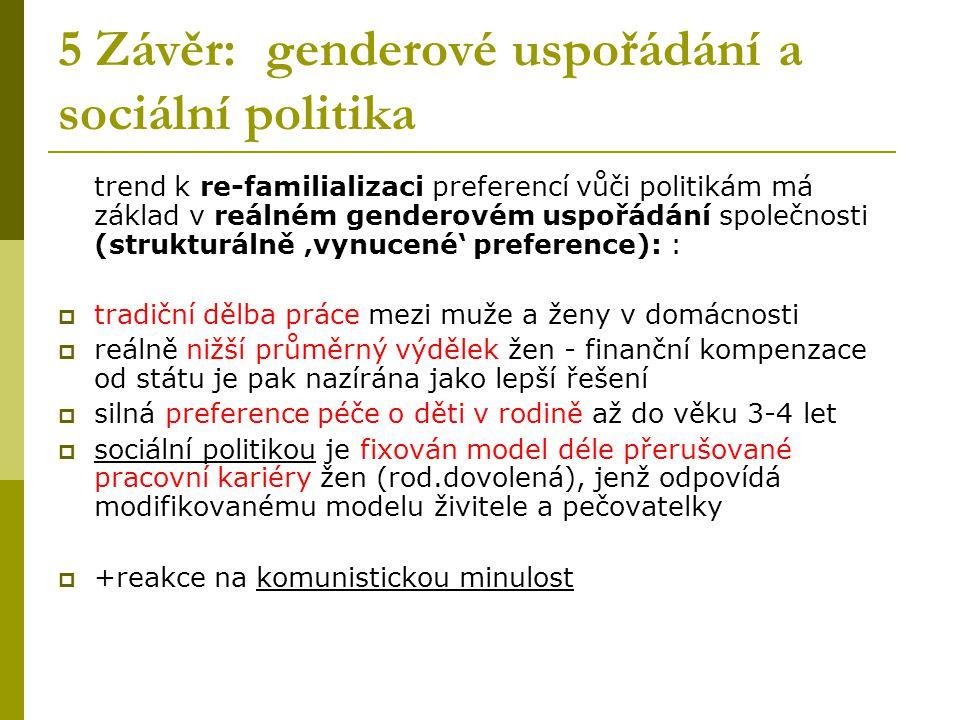 5 Závěr: genderové uspořádání a sociální politika