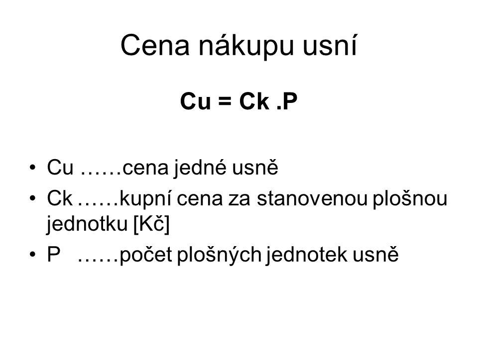 Cena nákupu usní Cu = Ck .P Cu ……cena jedné usně
