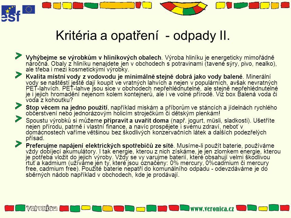 Kritéria a opatření - odpady II.