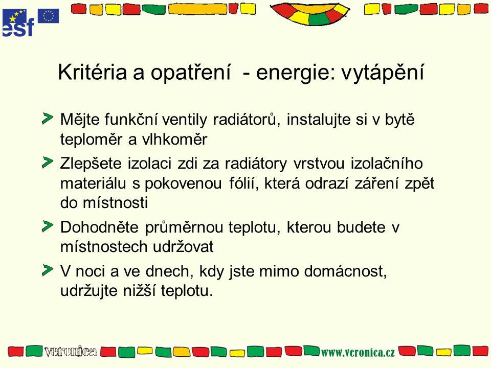 Kritéria a opatření - energie: vytápění