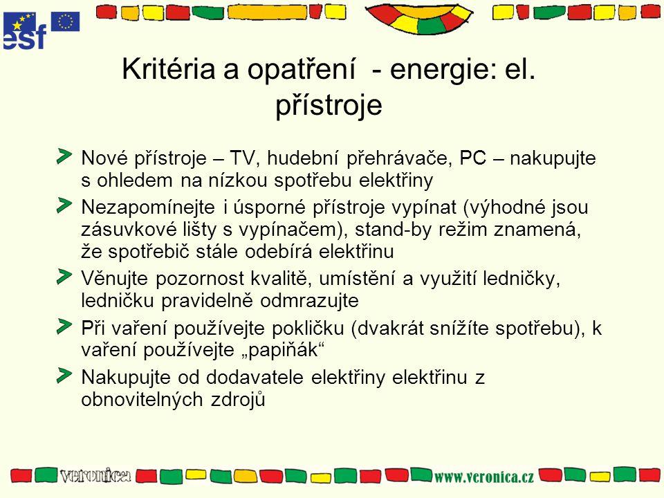 Kritéria a opatření - energie: el. přístroje