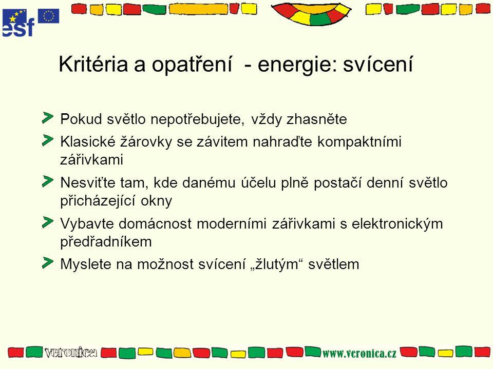 Kritéria a opatření - energie: svícení