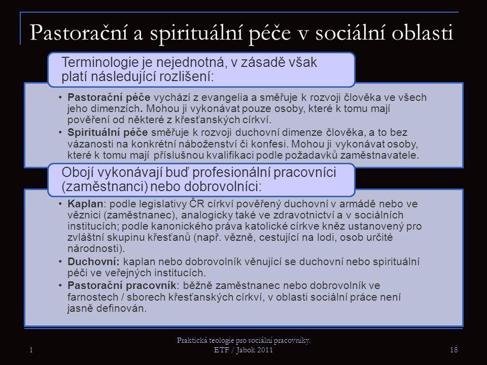 Pastorační a spirituální péče v sociální oblasti