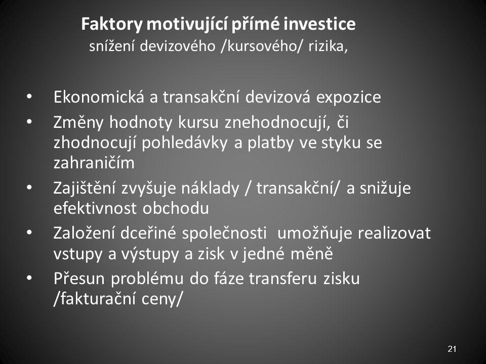 Faktory motivující přímé investice snížení devizového /kursového/ rizika,
