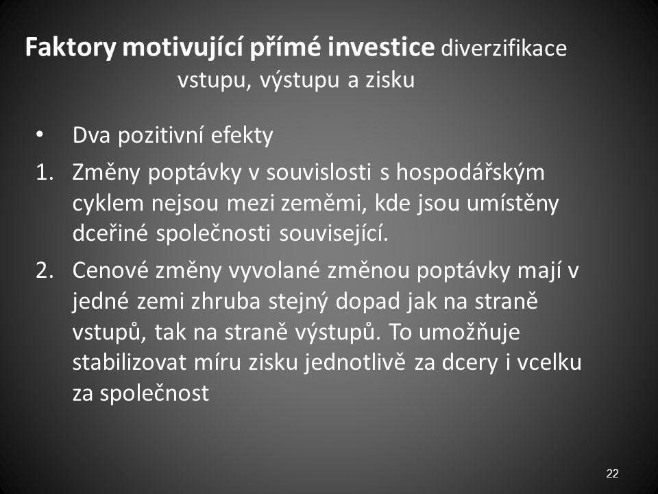 Faktory motivující přímé investice diverzifikace vstupu, výstupu a zisku