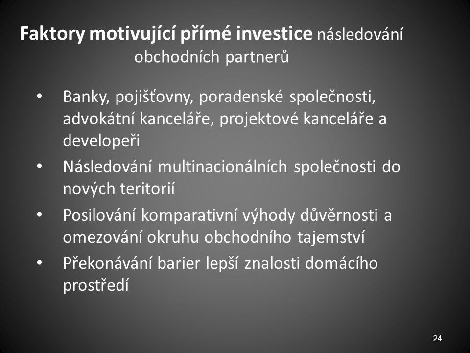 Faktory motivující přímé investice následování obchodních partnerů