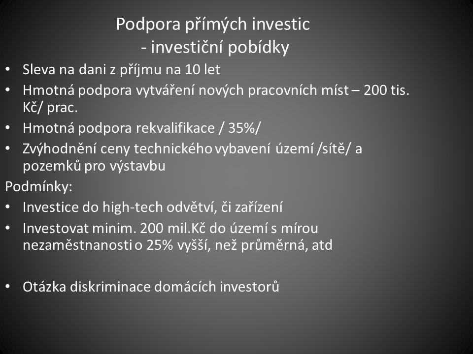 Podpora přímých investic - investiční pobídky