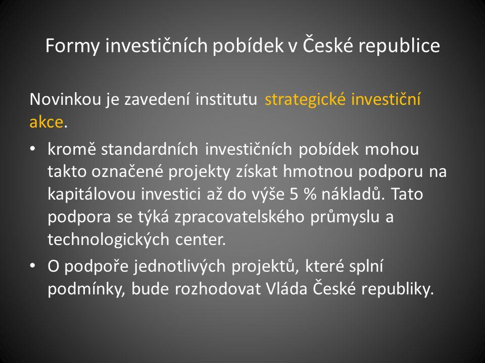 Formy investičních pobídek v České republice