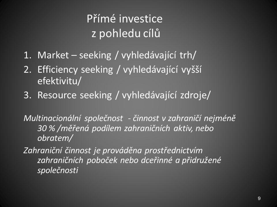 Přímé investice z pohledu cílů