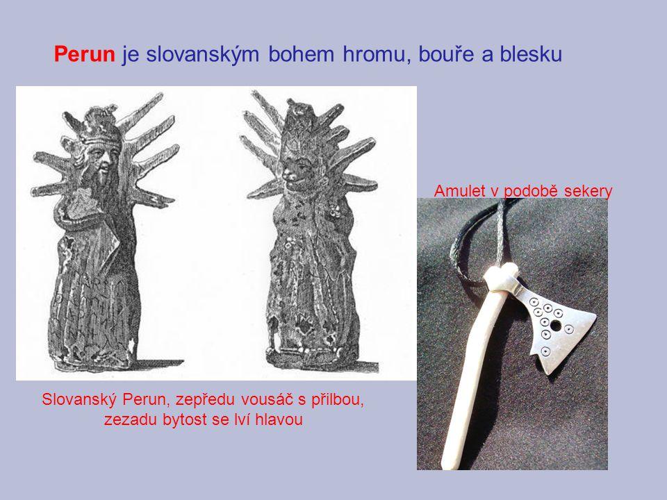 Slovanský Perun, zepředu vousáč s přilbou, zezadu bytost se lví hlavou