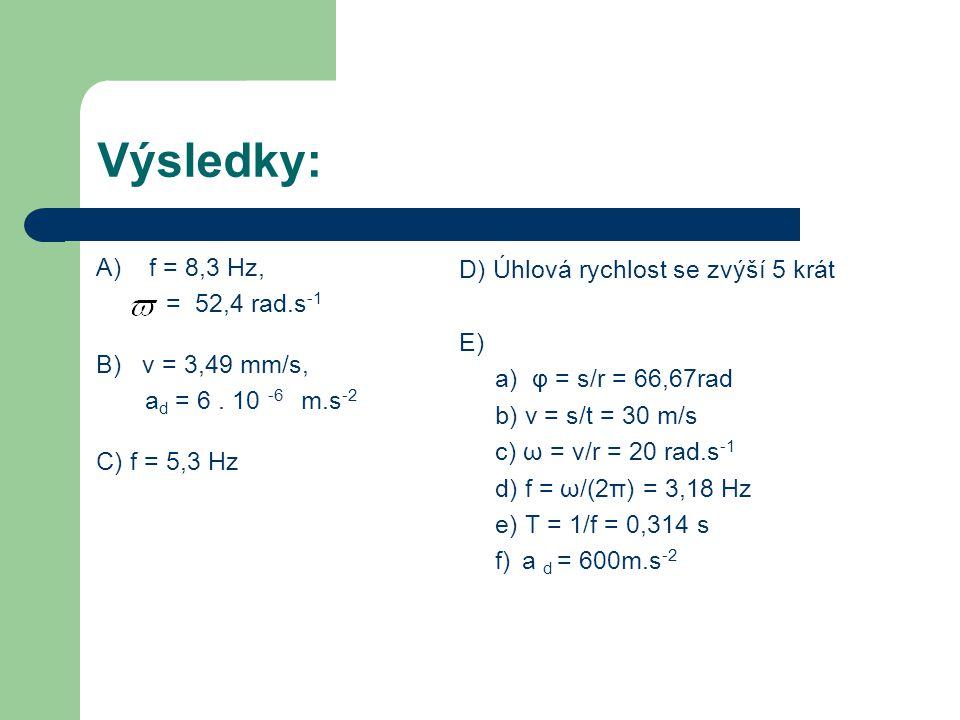 Výsledky: A) f = 8,3 Hz, D) Úhlová rychlost se zvýší 5 krát