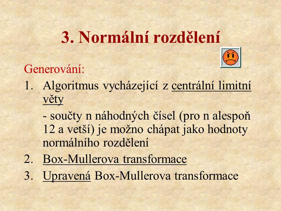 3. Normální rozdělení Generování: