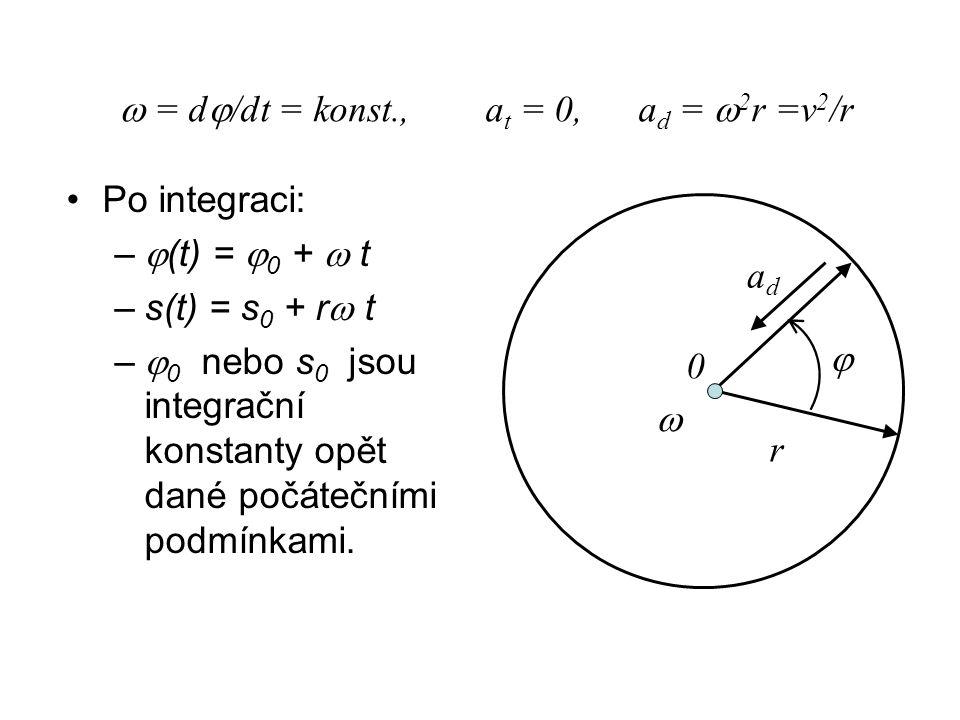  = d/dt = konst., at = 0, ad = 2r =v2/r