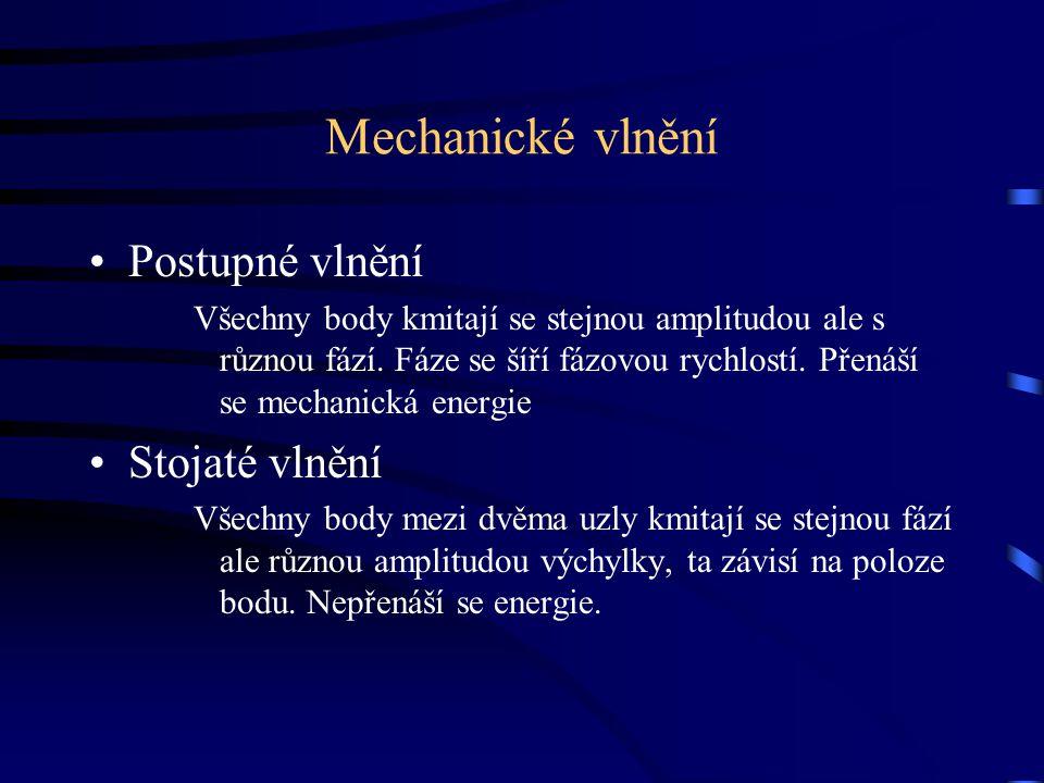 Mechanické vlnění Postupné vlnění Stojaté vlnění