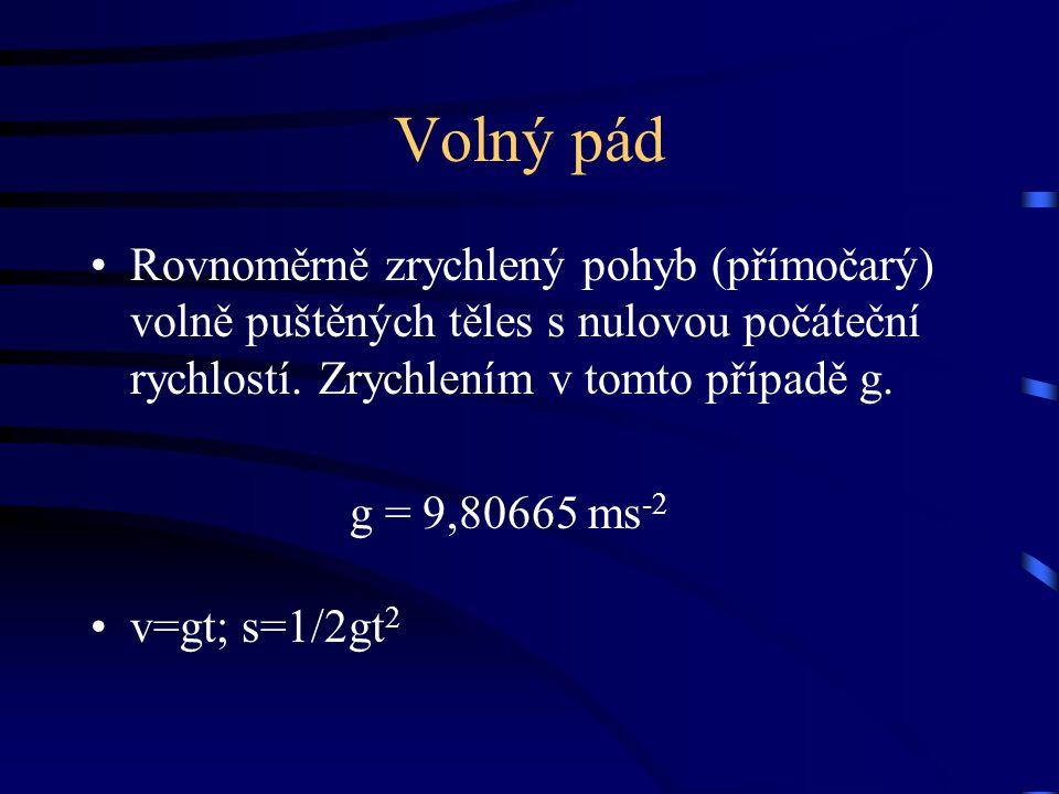 Volný pád Rovnoměrně zrychlený pohyb (přímočarý) volně puštěných těles s nulovou počáteční rychlostí. Zrychlením v tomto případě g.