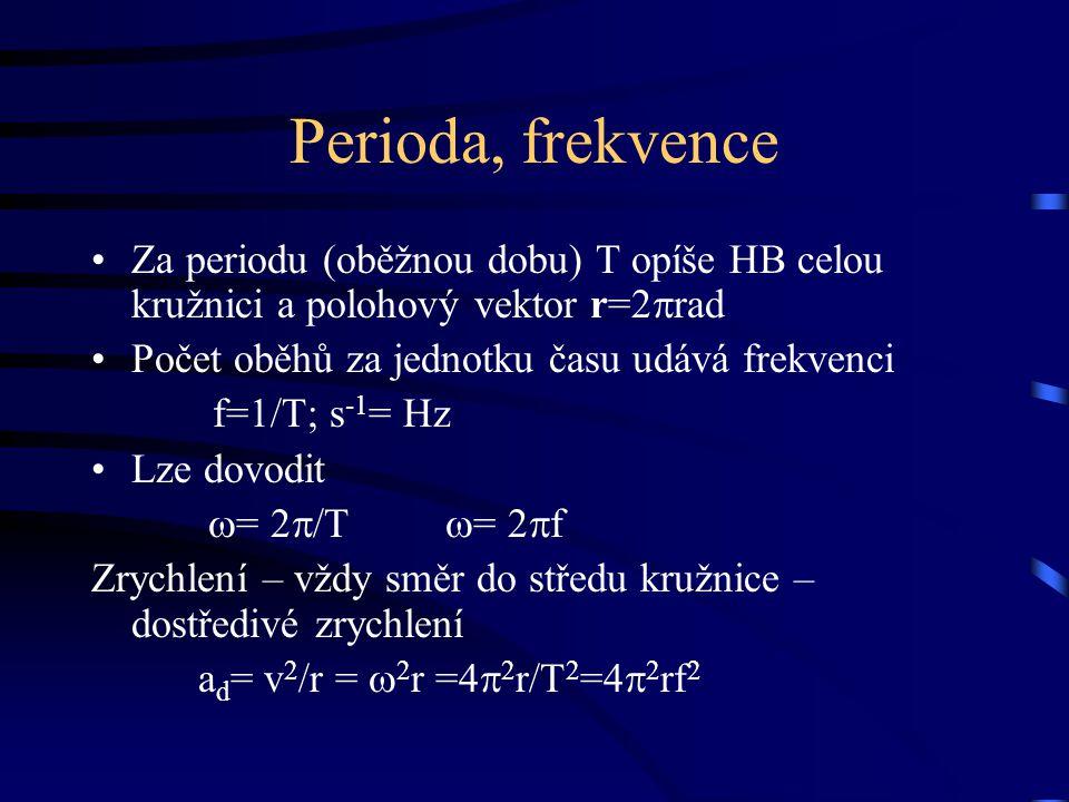 Perioda, frekvence Za periodu (oběžnou dobu) T opíše HB celou kružnici a polohový vektor r=2rad. Počet oběhů za jednotku času udává frekvenci.