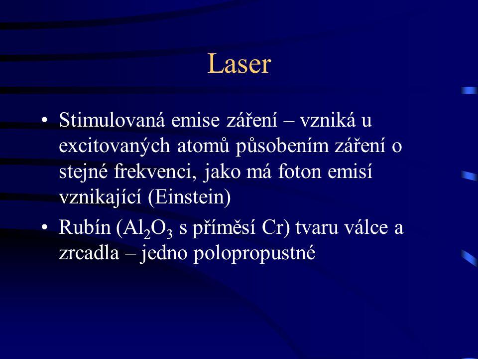 Laser Stimulovaná emise záření – vzniká u excitovaných atomů působením záření o stejné frekvenci, jako má foton emisí vznikající (Einstein)