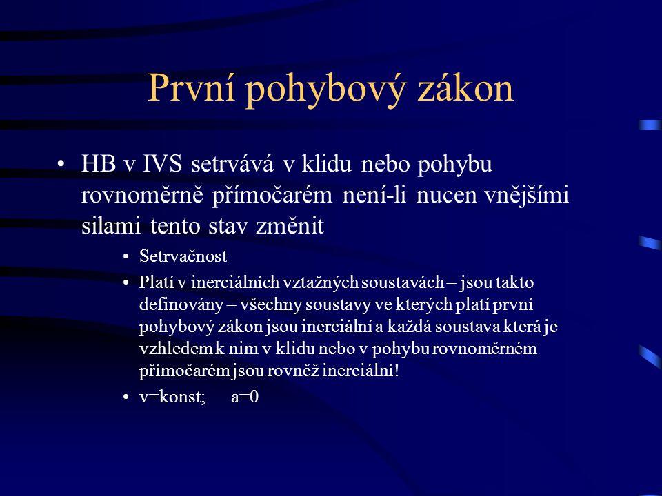 První pohybový zákon HB v IVS setrvává v klidu nebo pohybu rovnoměrně přímočarém není-li nucen vnějšími silami tento stav změnit.