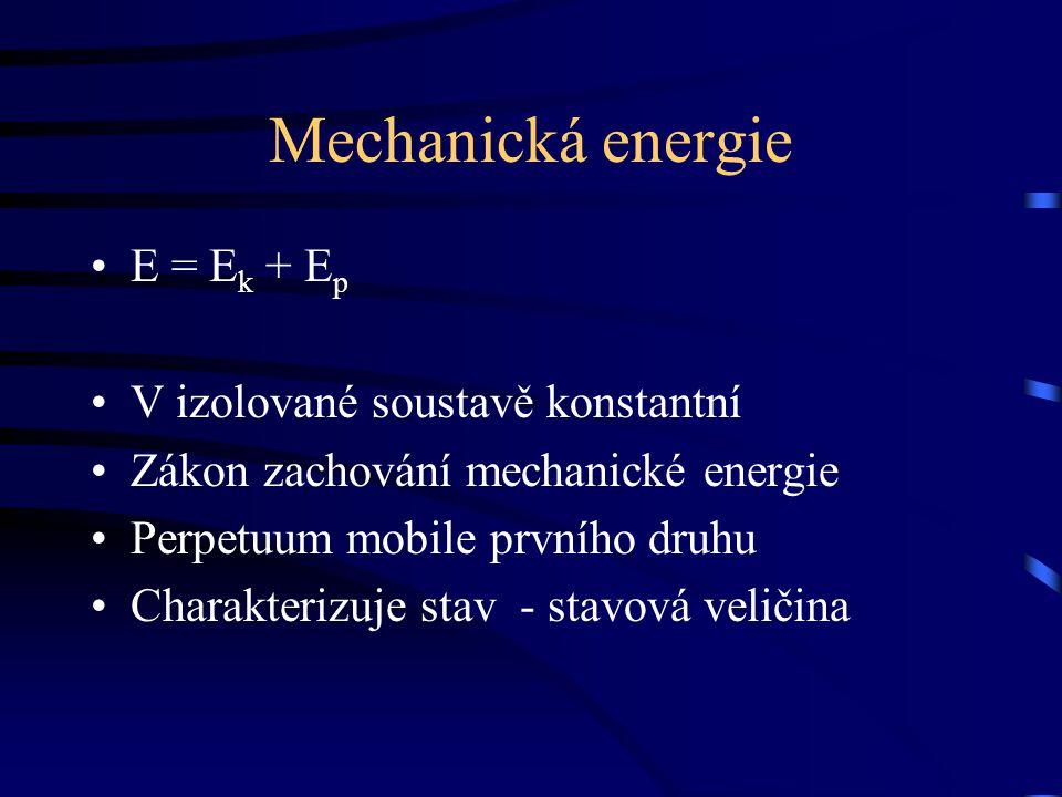 Mechanická energie E = Ek + Ep V izolované soustavě konstantní