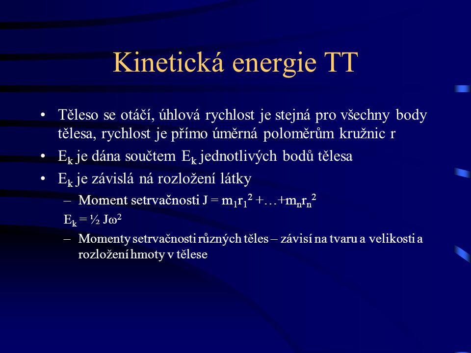 Kinetická energie TT Těleso se otáčí, úhlová rychlost je stejná pro všechny body tělesa, rychlost je přímo úměrná poloměrům kružnic r.