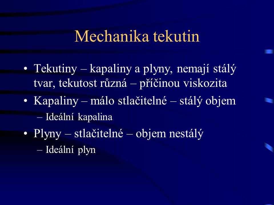 Mechanika tekutin Tekutiny – kapaliny a plyny, nemají stálý tvar, tekutost různá – příčinou viskozita.