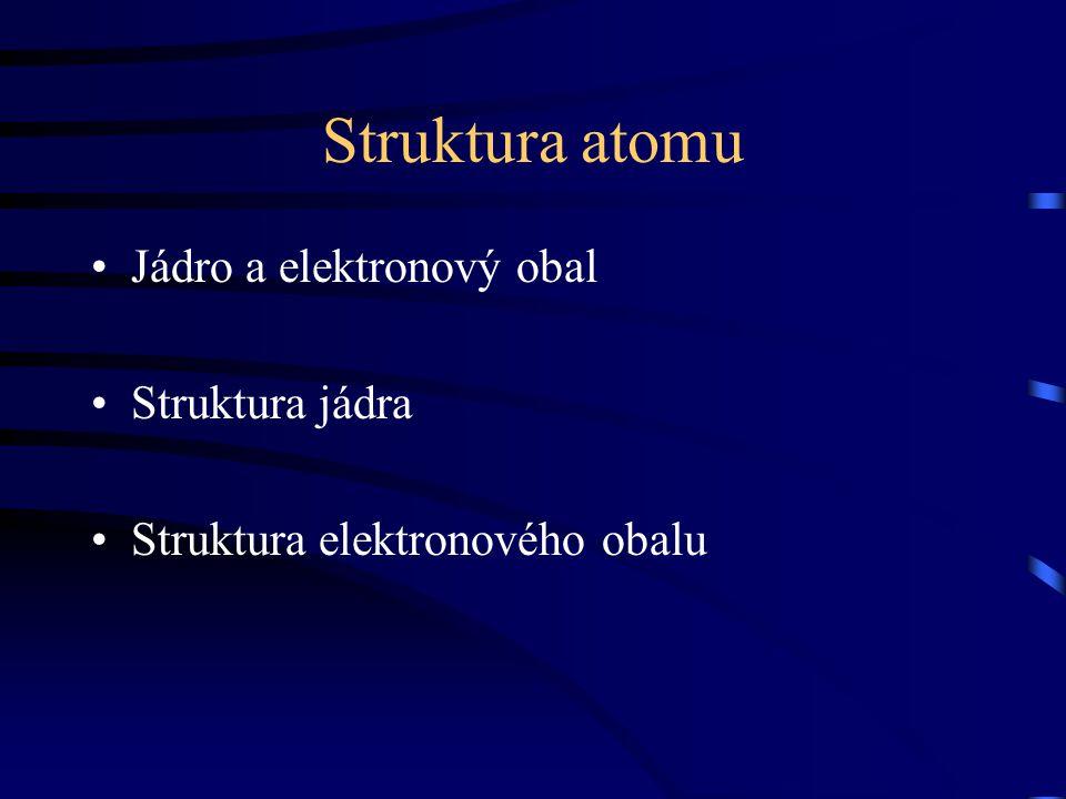 Struktura atomu Jádro a elektronový obal Struktura jádra