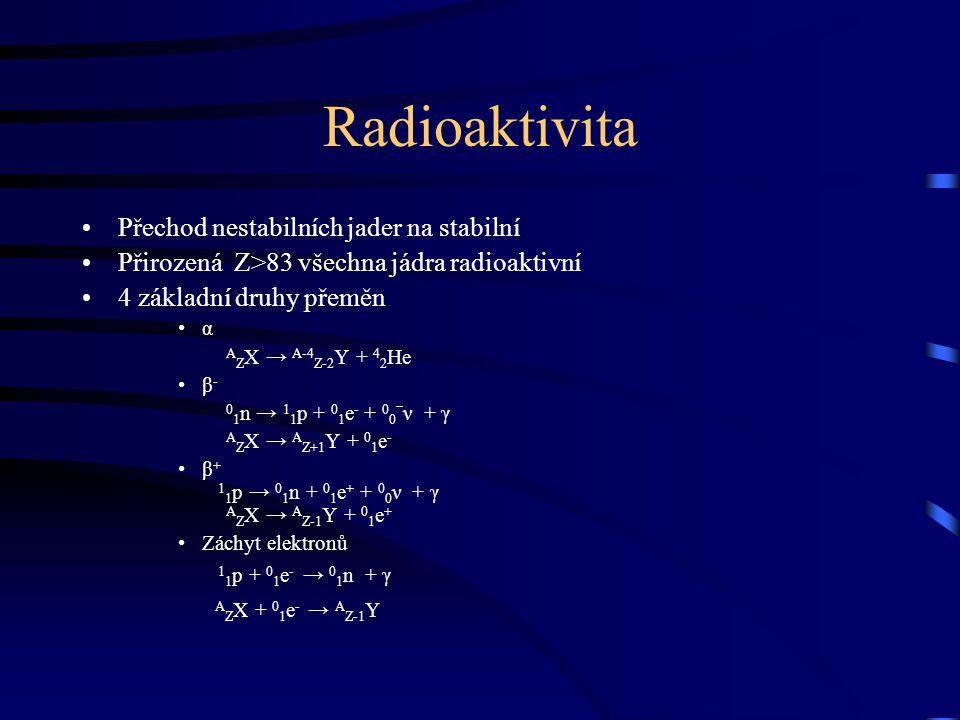 Radioaktivita Přechod nestabilních jader na stabilní