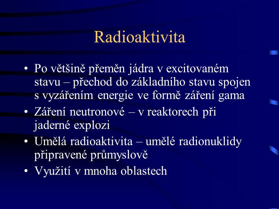 Radioaktivita Po většině přeměn jádra v excitovaném stavu – přechod do základního stavu spojen s vyzářením energie ve formě záření gama.