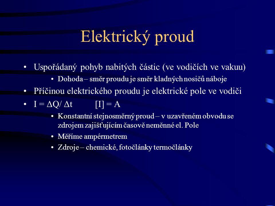 Elektrický proud Uspořádaný pohyb nabitých částic (ve vodičích ve vakuu) Dohoda – směr proudu je směr kladných nosičů náboje.