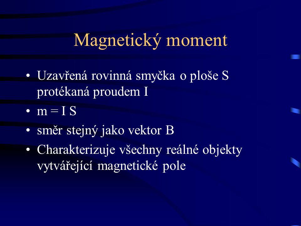 Magnetický moment Uzavřená rovinná smyčka o ploše S protékaná proudem I. m = I S. směr stejný jako vektor B.
