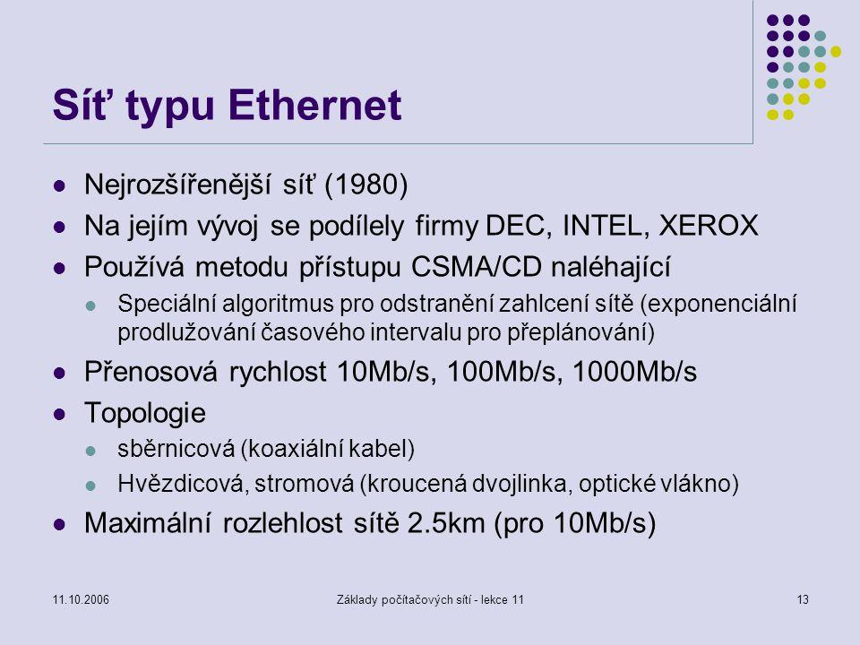 Základy počítačových sítí - lekce 11