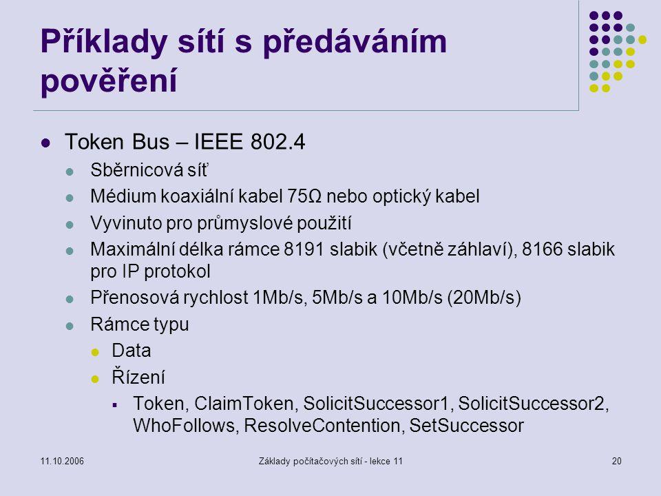Příklady sítí s předáváním pověření