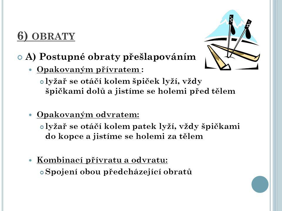 6) obraty A) Postupné obraty přešlapováním Opakovaným přívratem :