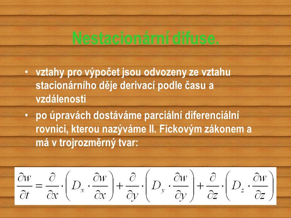 Nestacionární difuse. vztahy pro výpočet jsou odvozeny ze vztahu stacionárního děje derivací podle času a vzdálenosti.