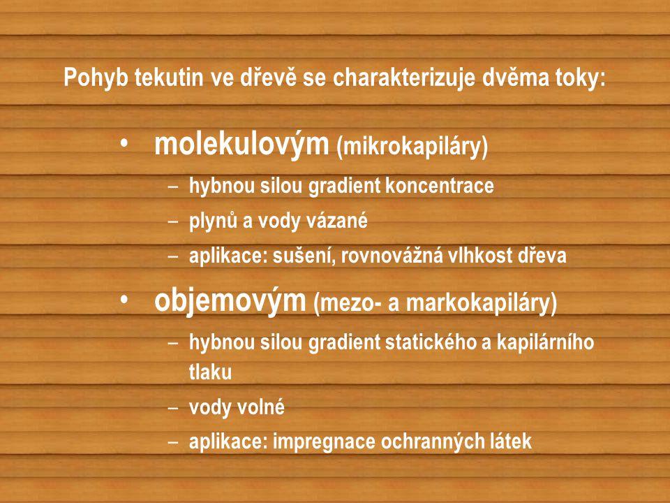 Pohyb tekutin ve dřevě se charakterizuje dvěma toky: