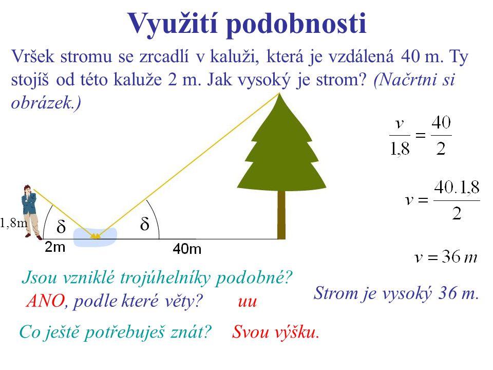 Využití podobnosti Vršek stromu se zrcadlí v kaluži, která je vzdálená 40 m. Ty stojíš od této kaluže 2 m. Jak vysoký je strom (Načrtni si obrázek.)